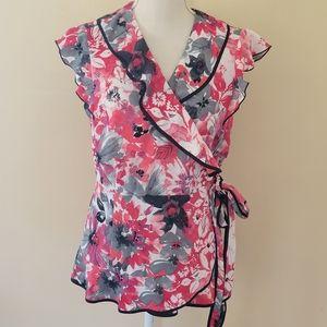 Access floral wrap blouse size large